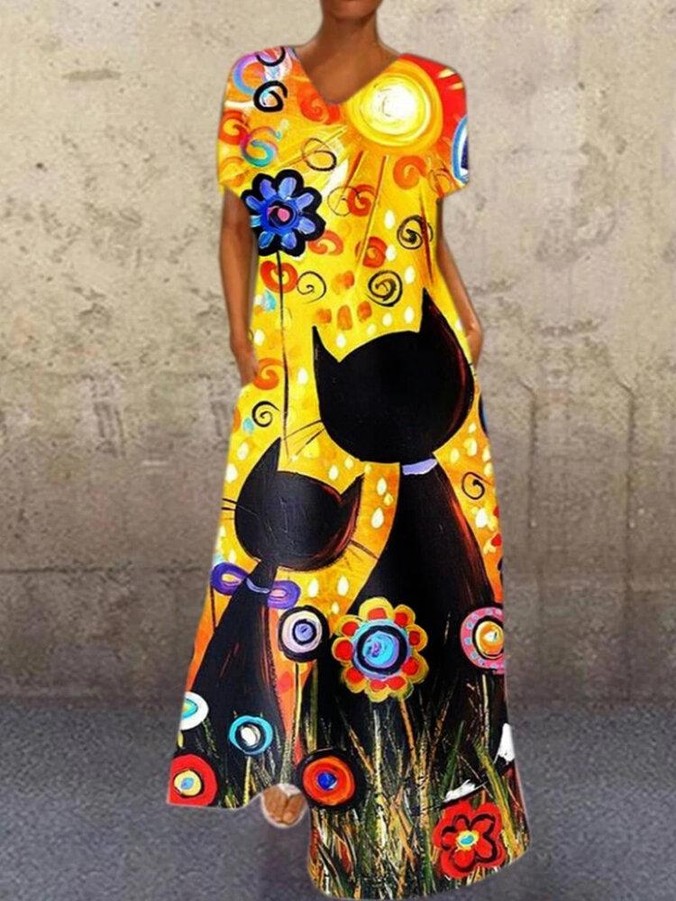Cartoon Print V-neck Plus Size Maxi Dress for Women