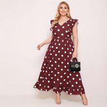 Kleid mit tiefem V Kragen, Rueschen Armloch und Punkten Muster
