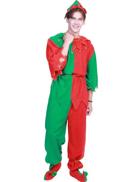 Milanoo Christmas Elf Costume Men Contrast Color Outfit 4 Piece Set Halloween