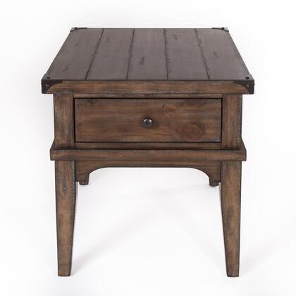 Aspen Skies Collection 416-OT1020 End Table with Drawer  Corner Metal Bracket Accents  Plank Details  Simple Pull and Tapered Leg in Weathered Brown