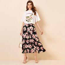 Conjunto top floral con slogan de hombros caidos con falda con fruncido