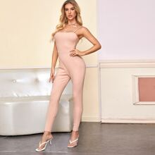 Solid Rib-Knit Fitted Cami Jumpsuit