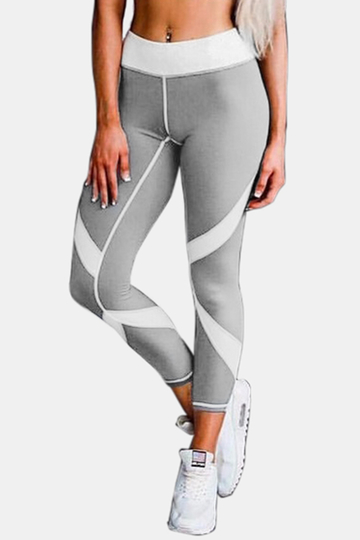 Yoins Active Net Yarn Stitching Quick Drying High Waisted Leggings in Grey