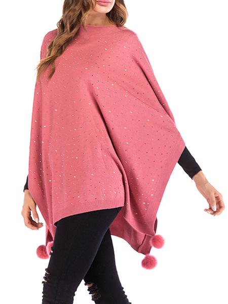Milanoo Women Knit Poncho Pink Jewel Neck Pom Poms Cape