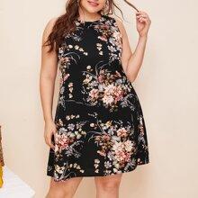Ärmelloses Kleid mit Blumen Muster