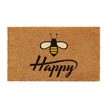 Bee Happy Rectangular Outdoor Doormat, One Size , Black