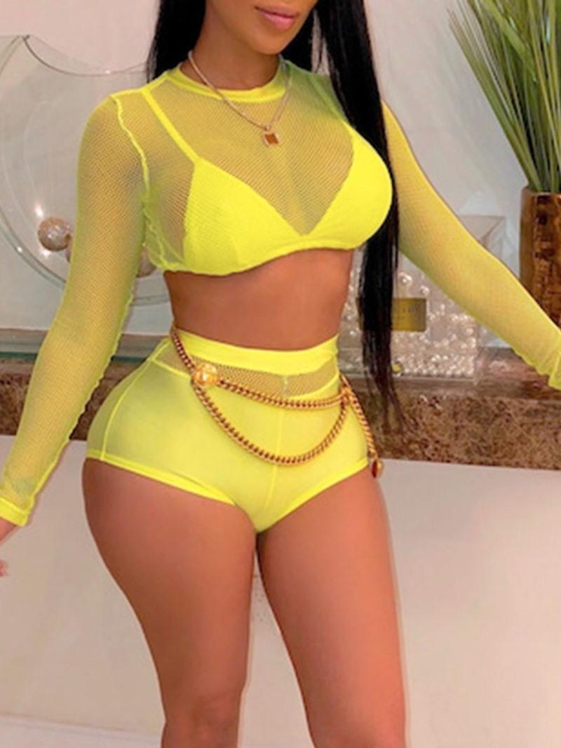 Ericdress Long Sleeve Lace Tankini Set Swimwear