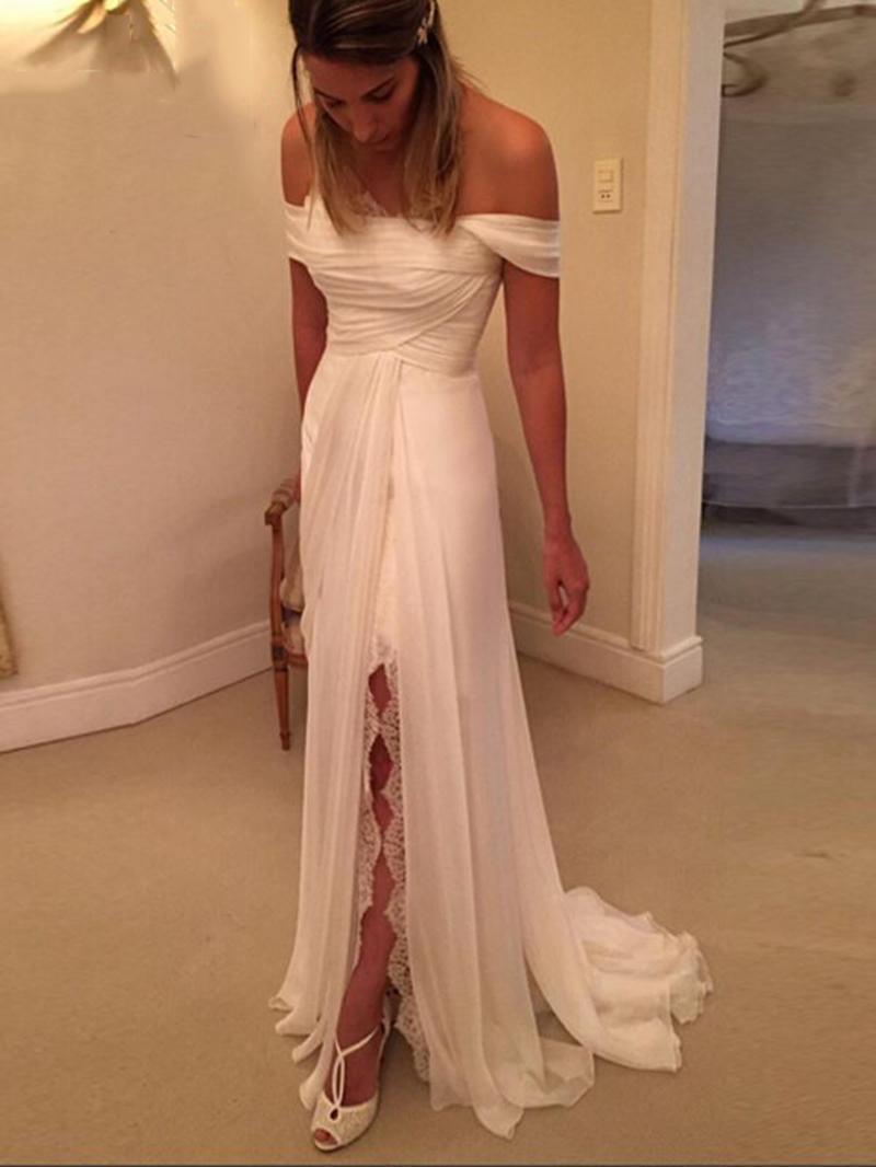 Ericdress Split Front Off the Shoulder Beach Wedding Dress