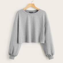 Drop Shoulder Heather Gray Crop Pullover