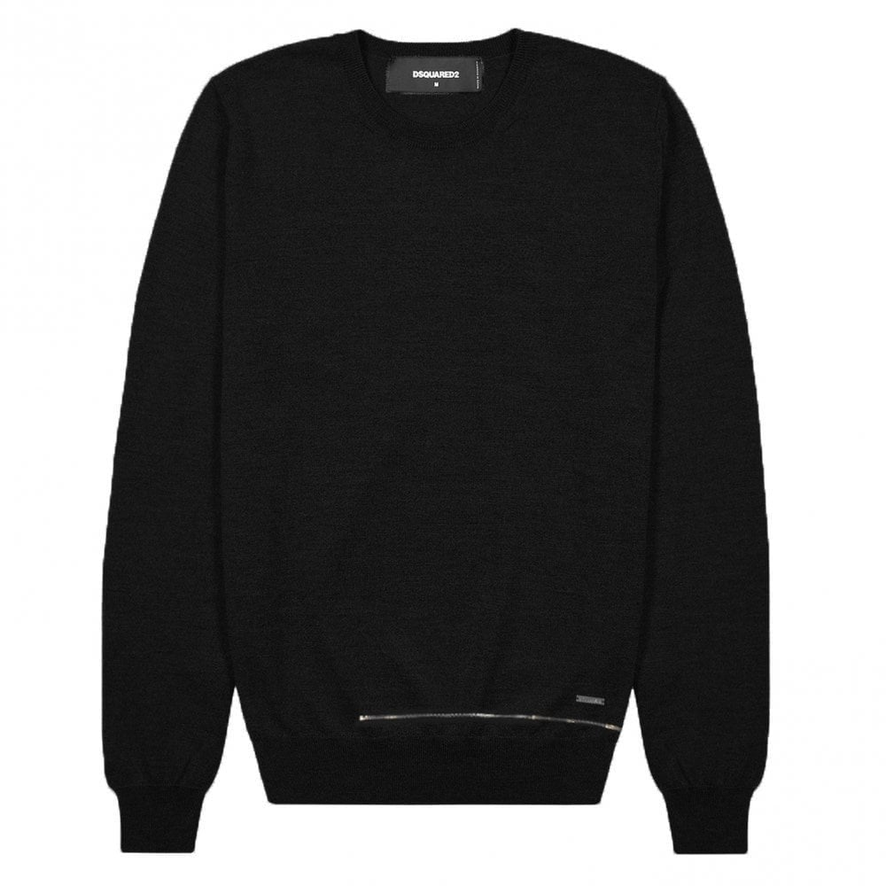 DSquared2 Zip Knitted Jumper Colour: BLACK, Size: EXTRA EXTRA LARGE