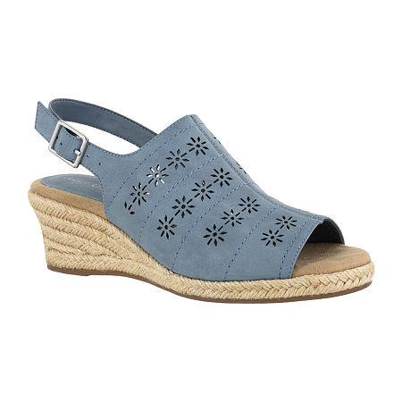 Easy Street Womens Joann Wedge Sandals, 11 Medium, Blue