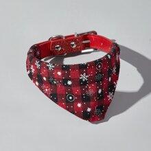 Christmas Plaid Bandana Decor Dog Collar
