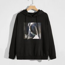 Guys Astronaut & Letter Graphic Hoodie