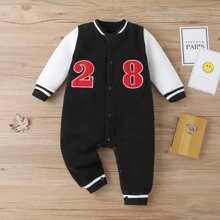 Baby Boy Number Embroidered Fleece Jumpsuit