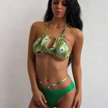 bikini top halter con estampado de pluma con tiras cruzadas