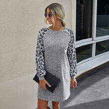 Vestido sudadera de manga raglan de leopardo