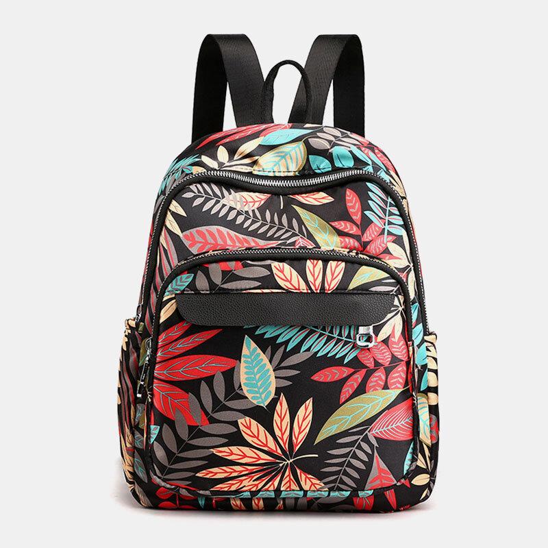 Women Multi-pocket Print Casual Lightness Backpack