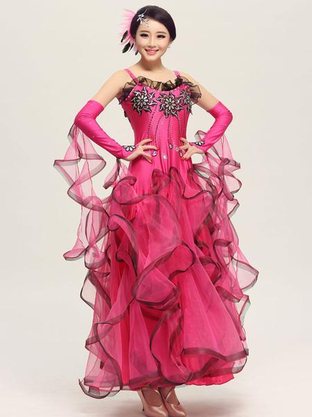 Milanoo Ballroom Dance Dress Daffodil Tulle Ruffle Sleeveless Ballroom Dancing Costume