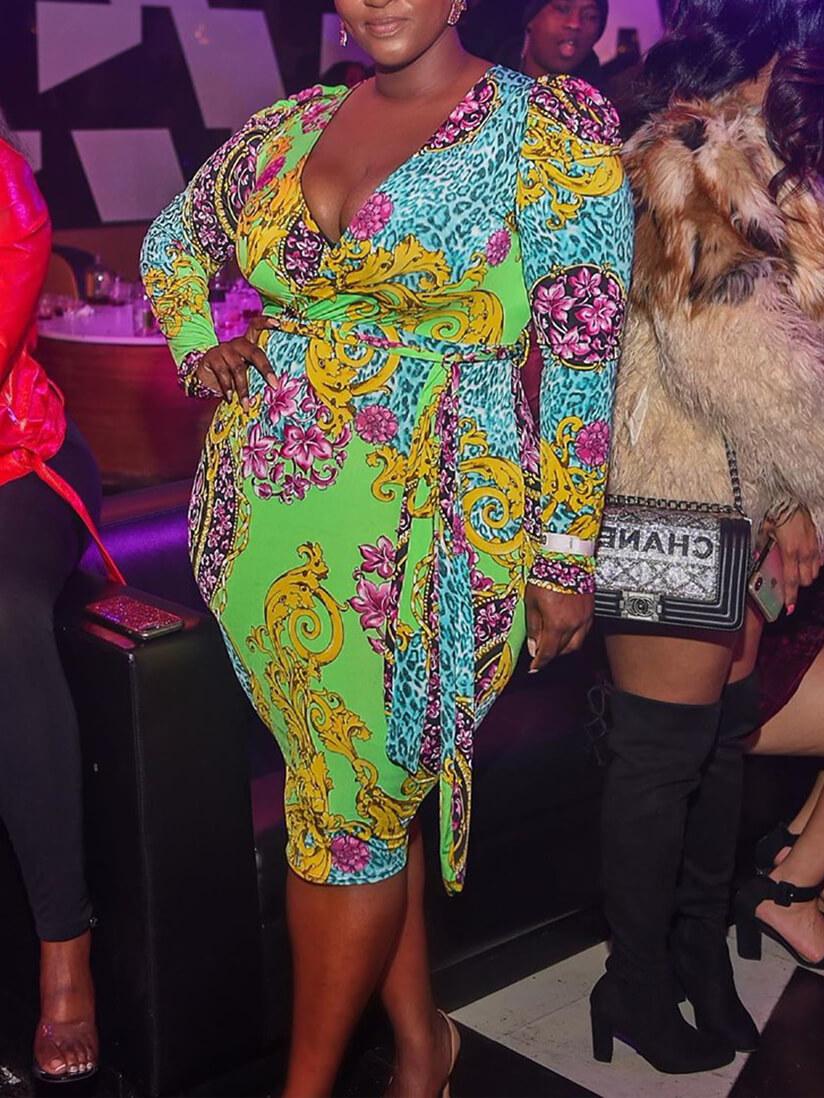 LW Lovely Casual Deep V Neck Print Green Knee Length Plus Size Dress
