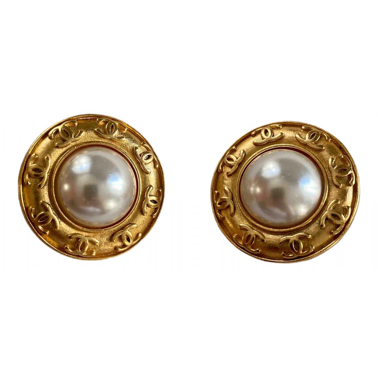 Chanel - Boucles doreilles CC pour femme en or jaune - blanc