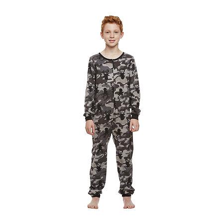 Jelli Fish Kids Big Boys Knit Long Sleeve One Piece Pajama, X-large , Gray
