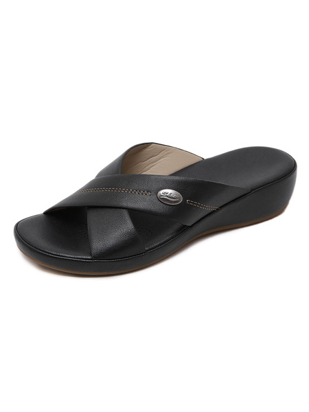 Milanoo Flat Sandals For Women Flat PU Leather Casual
