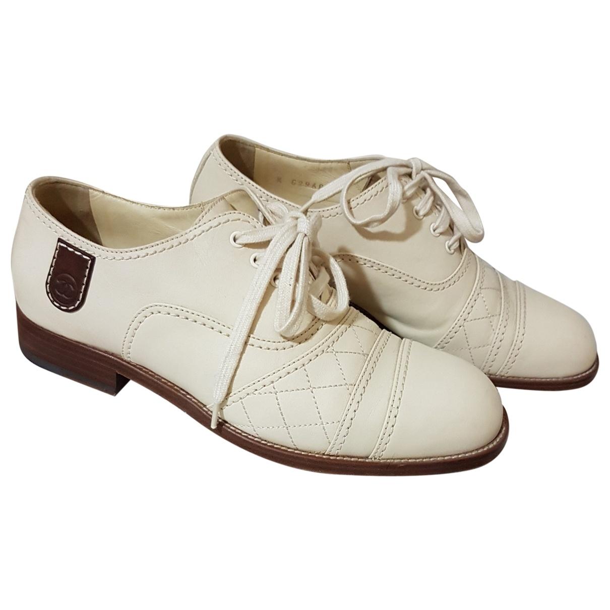 Chanel \N Beige Leather Flats for Women 39 EU