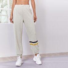 Sports Hose mit Streifen und elastischer Taille