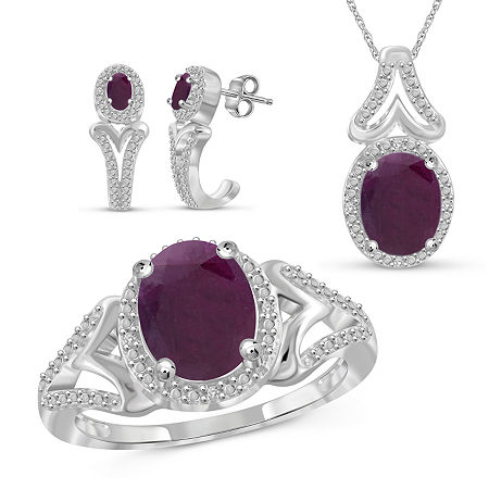 Diamond Accent Lead Glass-Filled Red Ruby Sterling Silver 3-pc. Jewelry Set, 6 , No Color Family