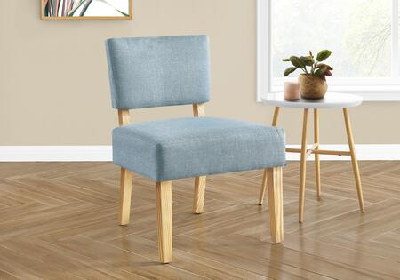 I 8274 Accent Chair - Light Blue Fabric Natural Wood