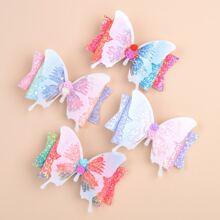 4pcs Toddler Girls Sequin Butterfly Hair Clip