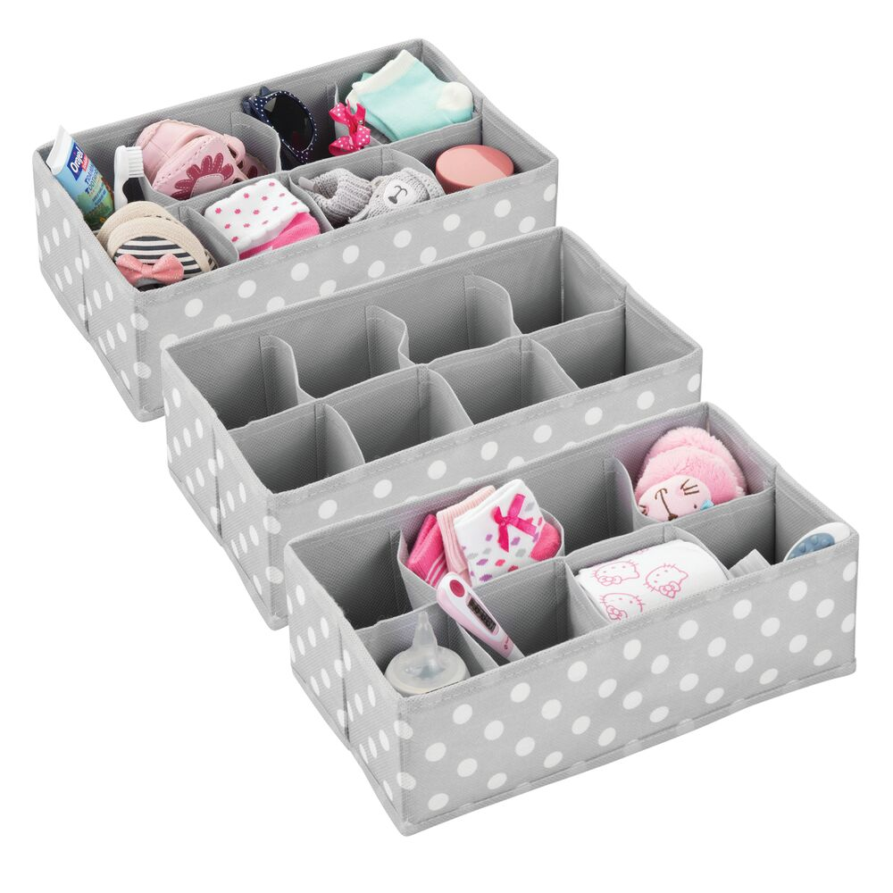 8 Section Kids Fabric Drawer Organizer in Gray/White, Set of 3, by mDesign