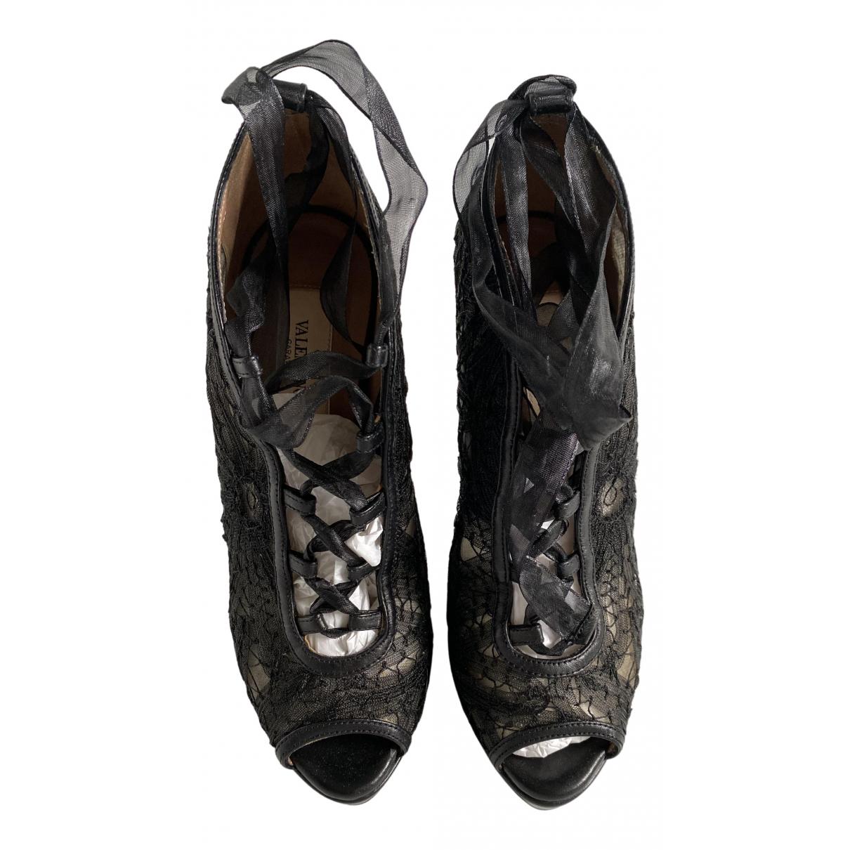 Valentino Garavani N Black Leather Heels for Women 35 EU