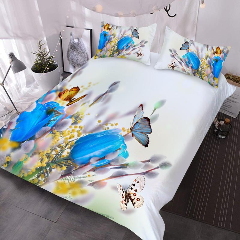 Blue Tulip and Butterflies 3D Pastoral Comforter Lightweight 3-Piece Comforter Set with 2 Pillowcases