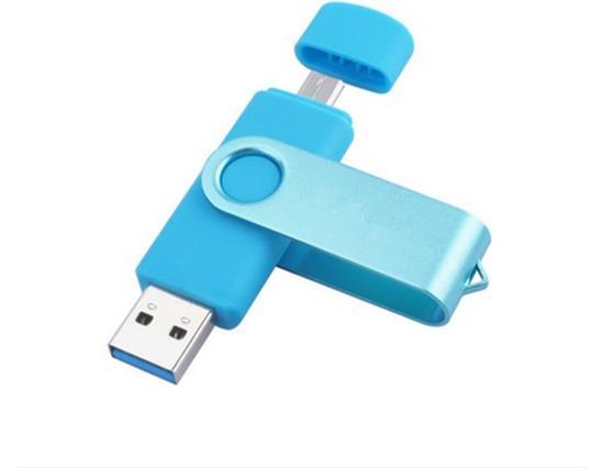 8GB USB Flash Drive With Dual Plug OTG JumpDrive For Mobile Phone Tablet PC USB Stick - Blue