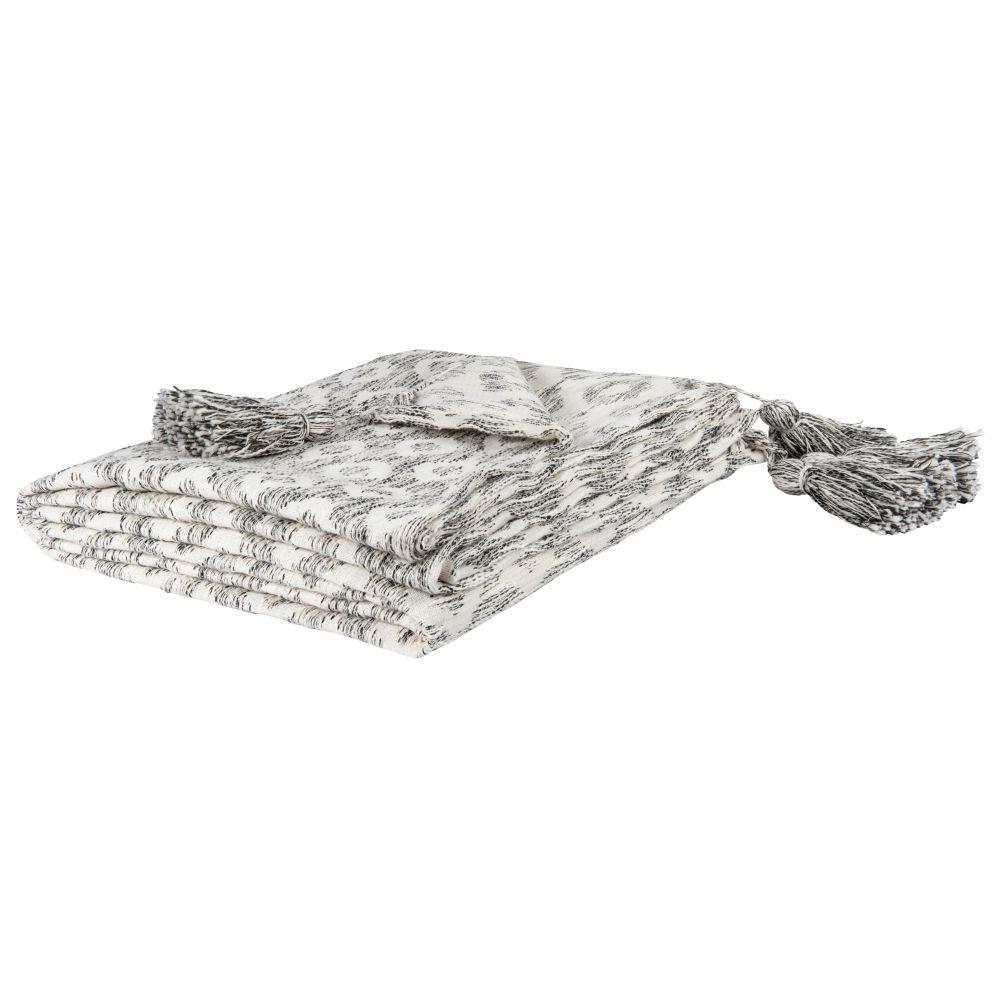 Baumwollplaid, ecrufarben mit schwarzen Fantasie-Motiven 160x210