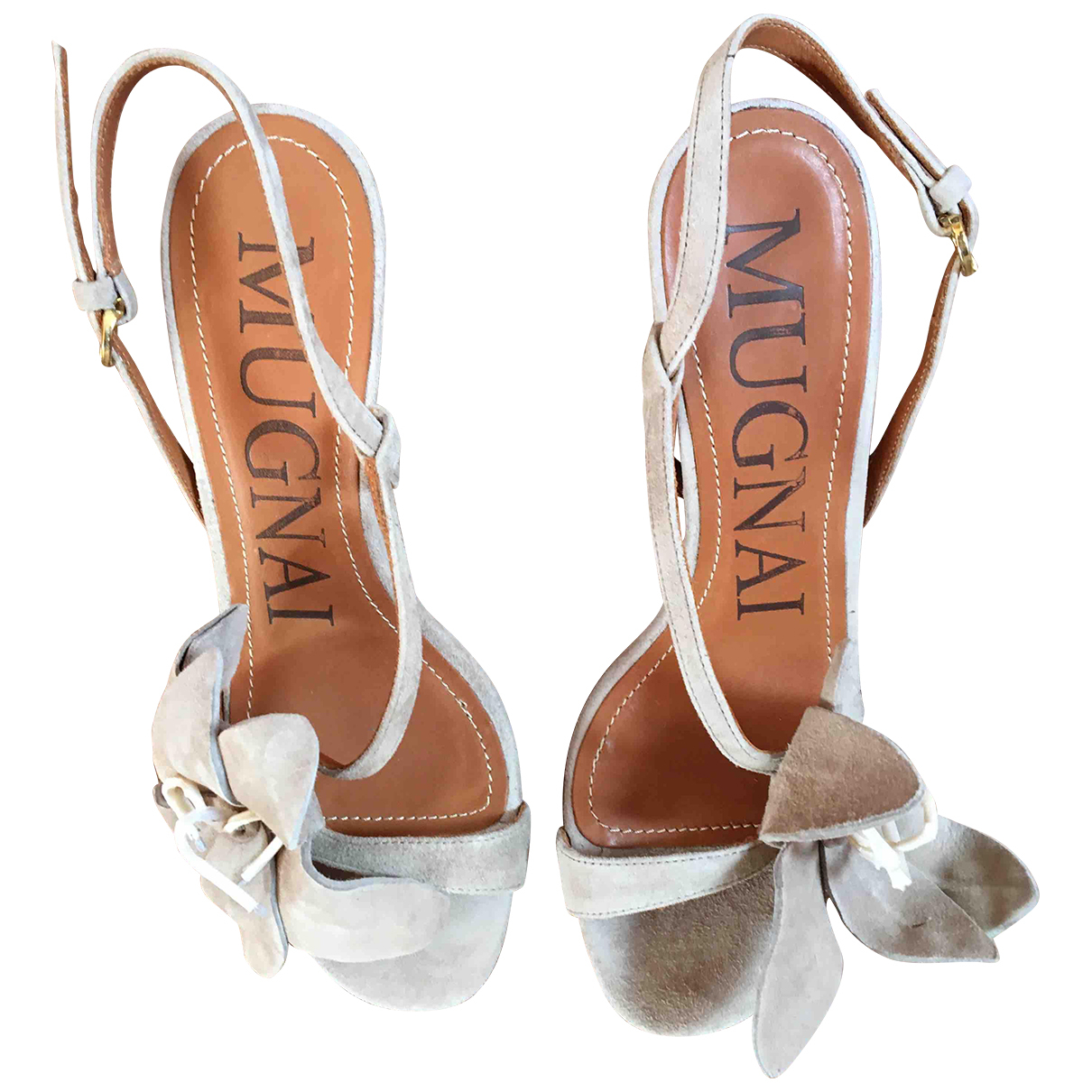 Mugnai \N Clogs in  Beige Veloursleder