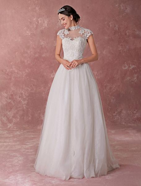 Milanoo Vestido de novia de la princesa Ball vestido de novia de cuello alto de encaje de cuentas de tul vestidos de novia de longitud