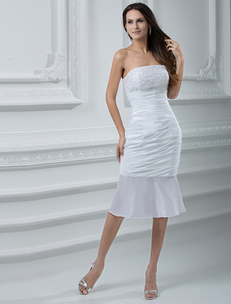 Milanoo Strapless Beaded Taffeta Mini Wedding Dress