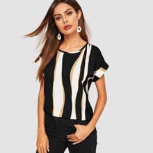 Cuffed Sleeve Color Block Top