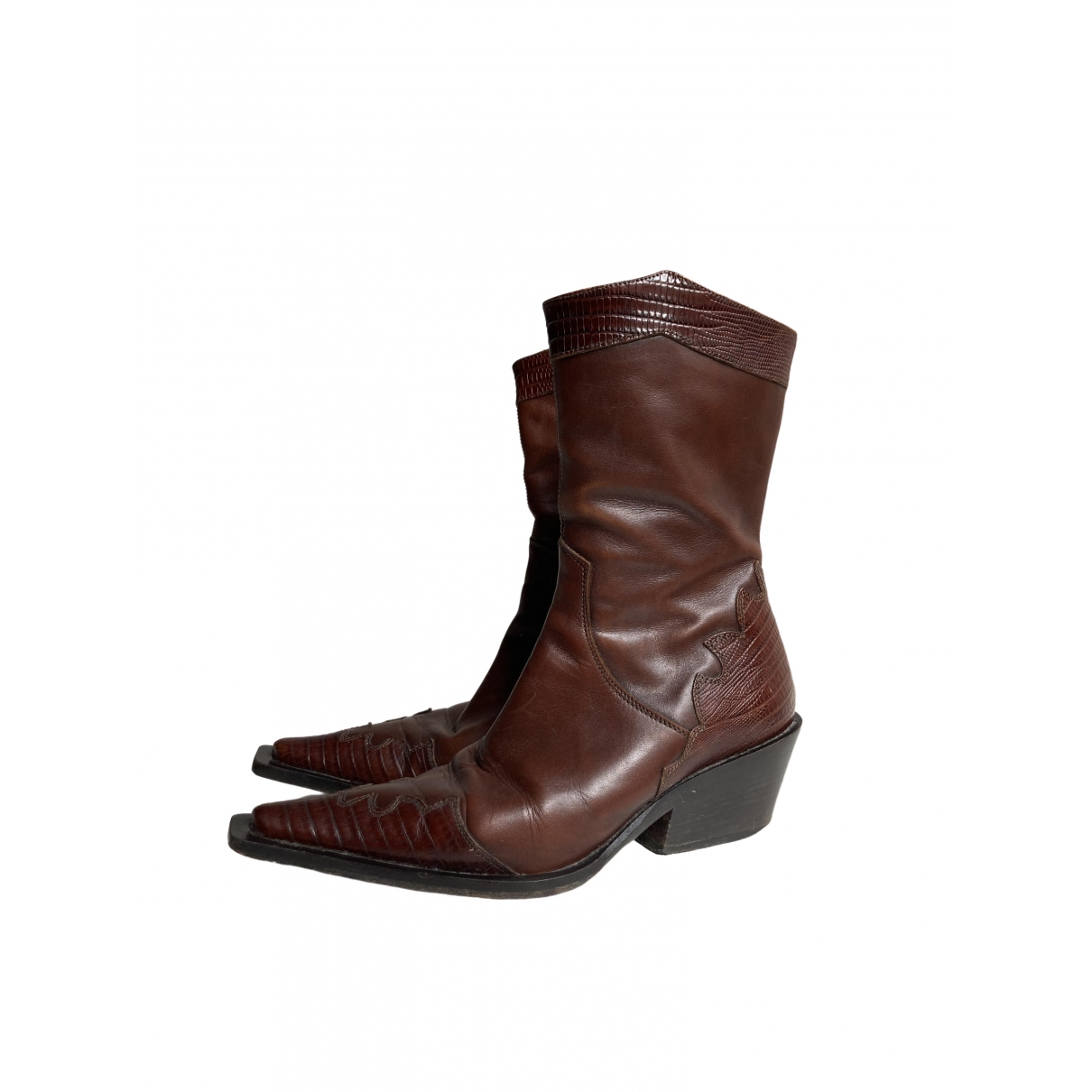 Non Signé / Unsigned \N Brown Leather Boots for Women 35 EU