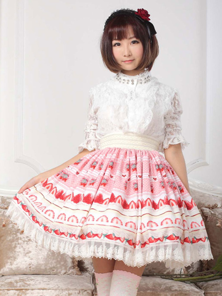 Milanoo Rosa falda de Lolita con estampado y volantes