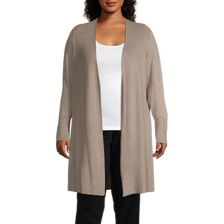 Worthington Womens Long Sleeve Cardigan-Plus, 3x , Brown