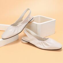 Ruched Detail Slingback Flats