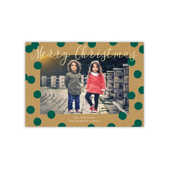 20 Pack of Gartner Studios® Personalized Kraft Dots Gold Foil Flat Holiday Photo Card in Pine | 5
