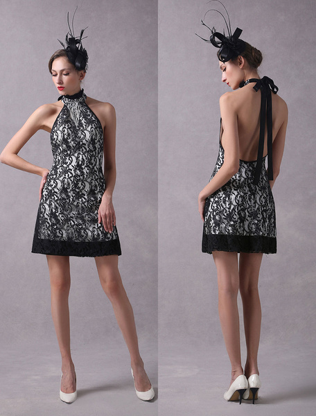 Milanoo Black Cocktail Dresses Lace Backless Halter Short Tassels Sexy Party Dresses wedding guest dress
