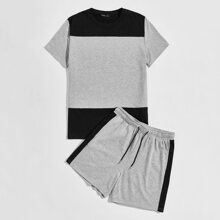 Men Colorblock Top & Contrast Side Seam Track Shorts Set