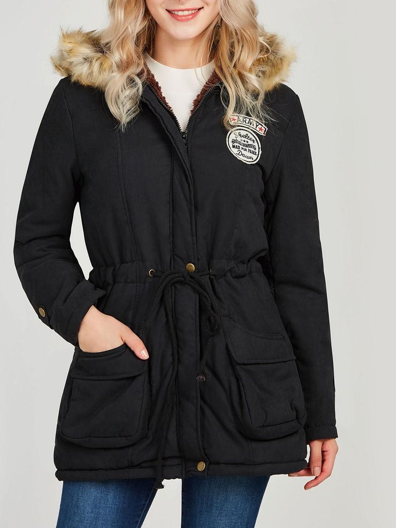 Ericdress Faux Fur Fleece Hooded Cotton Coat