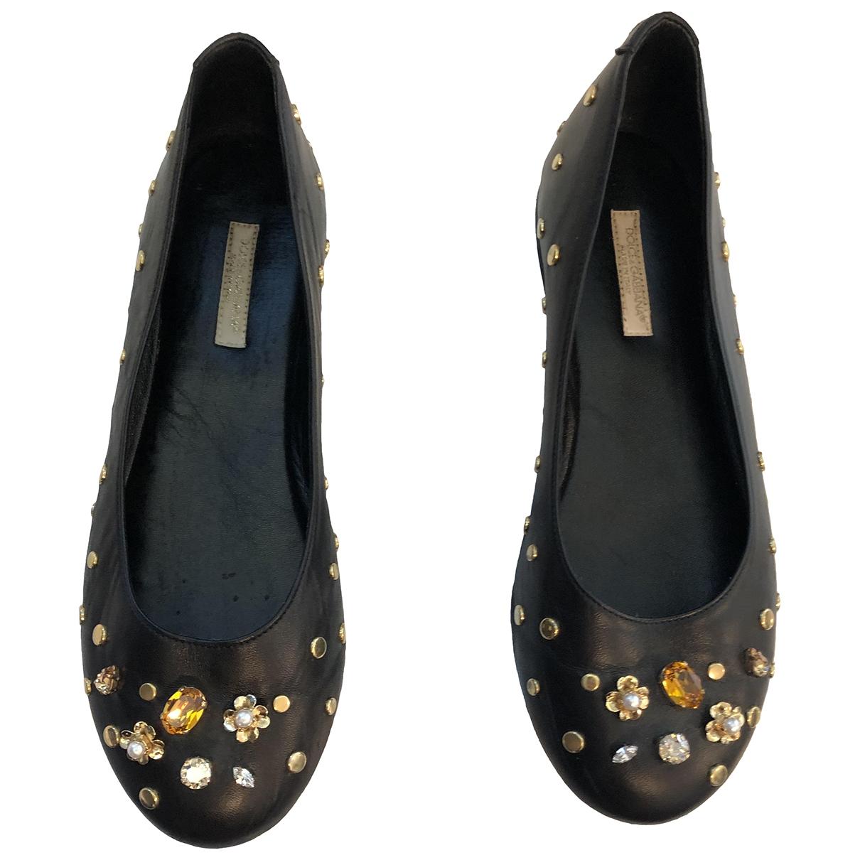 Dolce & Gabbana \N Black Leather Ballet flats for Kids 35 EU