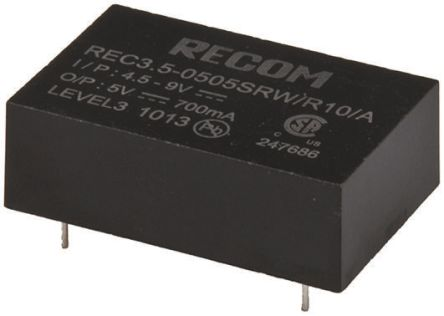Recom REC3.5 3.5W Isolated DC-DC Converter Through Hole, Voltage in 9 → 18 V dc, Voltage out ±12V dc Medical